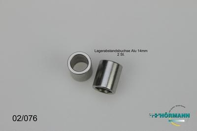 02/076 Lager afstandsbusje l. 14 mm.  2 Stuks