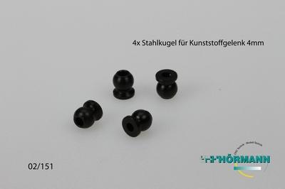 02/151 steel ball for Plastic ball head holder M4  4 Stuks