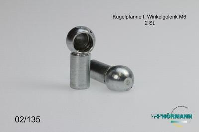 02/135 Kugelpfanne Winkelgelenk M6 Rechtsgewinde  2 Stuks