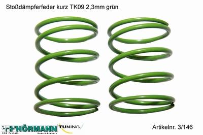 03/146 Schokdemper veer kort  2,3 mm. groen  2 Stuks