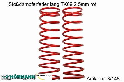 03/148 Schokdemper veer lang 2,5 mm. rood  2 Stuks
