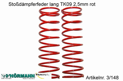 03/148 Stoßdämpfer Feder lang 2,5mm rot  2 Stuks