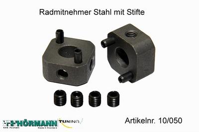 10/050 Wielmeenemer staal 9,5 mm. met stiften  2 Stuks