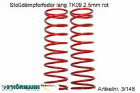 03/148 Shock absorber spring long 2,5 mm. red 2 Stuks